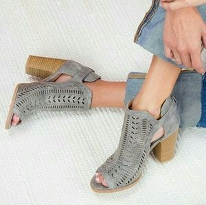 Shoes - CARLY perforated suede peeptoe ankle booties -GRAY